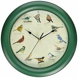Mark Feldstein Original Singing Bird Sounds Wall Clock 10.7 with Names of Birds