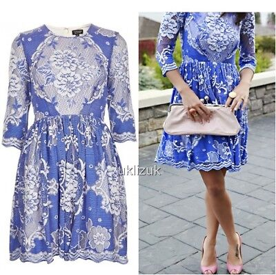 Topshop China Blue Floral Lace Skater Dress - Size 10 China Blue Lace