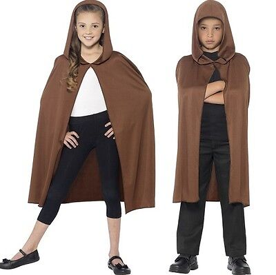 Childrens Fancy Dress Hooded Cape Brown Kids Childs Cloak by Smiffys
