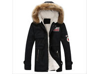Brand New Mens Black Quality Fur Hood Parka Size 2XL: Approx 40 inch chest