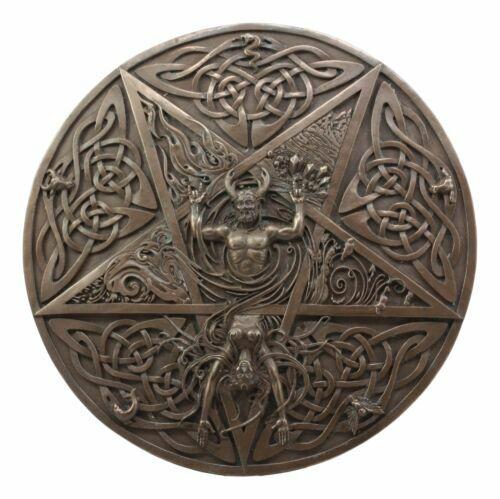 The Horned God & Goddess Elemental Celtic Knotwork Pentacle Wall Plaque  Figure