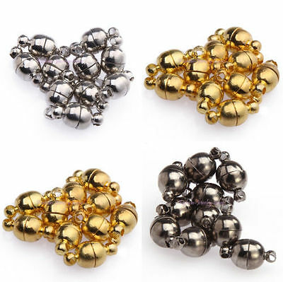 10 Sets Silver/Gold Plated Round Ball Magnetic Clasps For Jewelry Making 6/8mm - Clasps For Jewelry Making