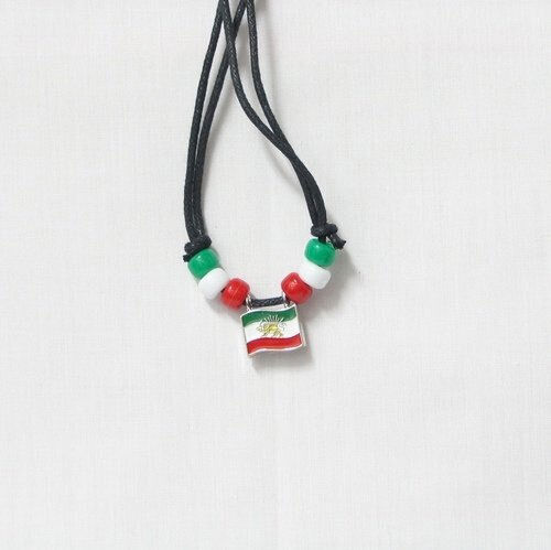IRAN WITH LION  COUNTRY FLAG SMALL METAL NECKLACE CHOKER .. NEW