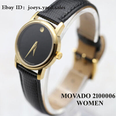 BOX SET MOVADO Museum 2100006 Gold Classic Black Leather Wrist Women's Watch