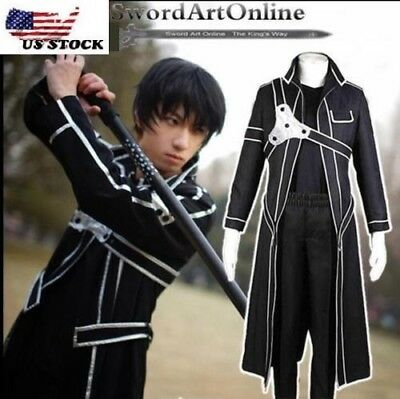 Sword Art Online Kazuto Kirigaya Kirito Coat Halloween Cosplay Costume+Pants #43