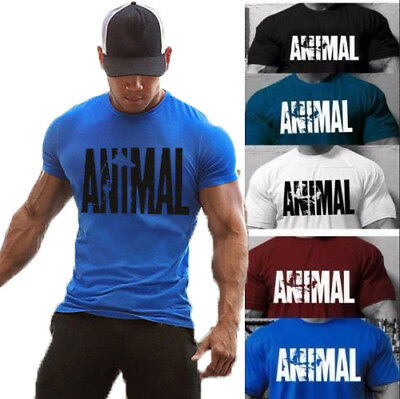 Us Seller Mens Animal T Shirt Fitness T Shirt Gym Muscle Bodybuilding T Shirt