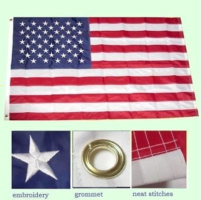 2x3 Embroidered USA United States 50 Stars 210D Sewn Nylon Flag (Made in USA)