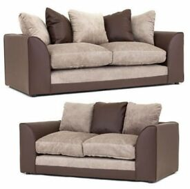Brown and beige chenille sofa range