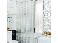 Shower Curtain Transparent PEVA Waterproof Mildew Resistant Long Length Bathroom Curtain