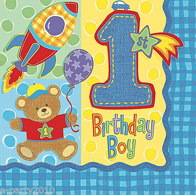 Y BEAR LUNCH NAPKINS (16) ~ 1st Birthday Party Supplies Boy (Teddy Bear Party Supplies)