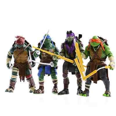 4PCS Lot TMNT Teenage Mutant Ninja Turtles Action Figures Anime Movie Xmas