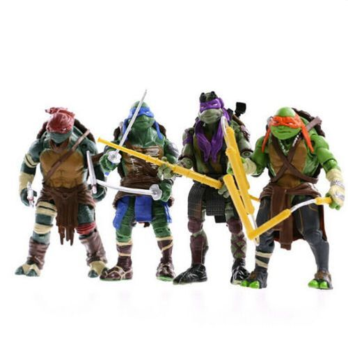 4PCS Lot TMNT Teenage Mutant Ninja Turtles Action Figures Anime Movie Xmas Gift