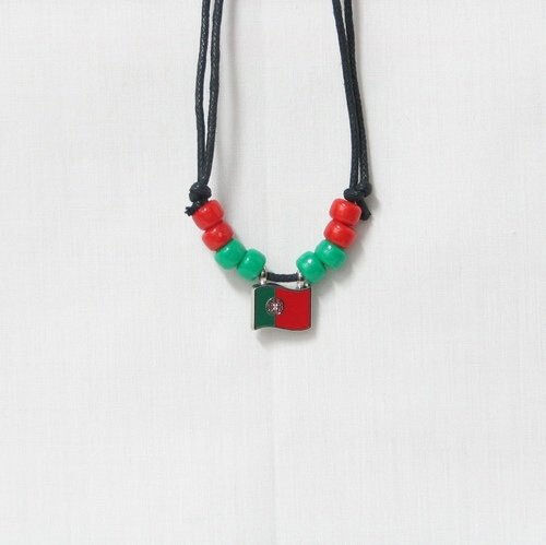 PORTUGAL  COUNTRY FLAG SMALL METAL NECKLACE CHOKER .. NEW