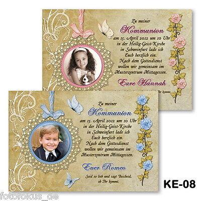 25 St. Einladungskarten, Fotokarten zur Kommunion Konfirmation mit  Fotos+Kuvert