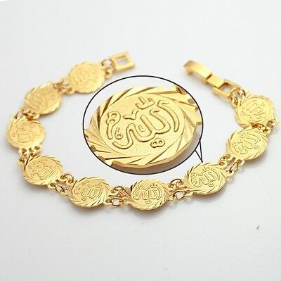 Islamic Allah Coin Bracelet Gold Plated Hand Chain Muslim Arab Fashion Jewelry