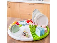 Triangle Dish Drainer Rack Tray Utensil Cutlery Kitchen Plate Holder Plastic