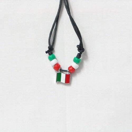 ITALY COUNTRY FLAG SMALL METAL NECKLACE CHOKER .. NEW