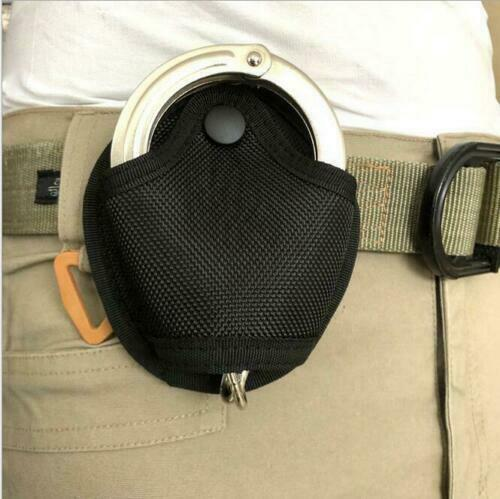Black Heavy Duty Nylon Handcuff Cuff Tactical Belt Case Pouch Handcuff