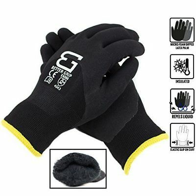 Safety Winter Insulated Double Lining Rubber 34coated Work Gloves -bgwans34-bk