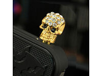 MOBILE PHONE BLING CANDY SKULL 3.5mm DUST PLUG IPHONE IPAD TABLET GALAXY S LOOK*