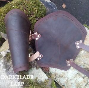 Pair Brown Leather Vambraces Bracers Arm Guard for Costume LARP  Cosplay
