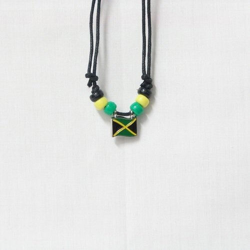 JAMAICA  COUNTRY FLAG SMALL METAL NECKLACE CHOKER .. NEW