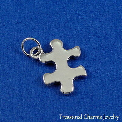Silver PUZZLE PIECE Jigsaw Autism Awareness CHARM PENDANT *NEW*