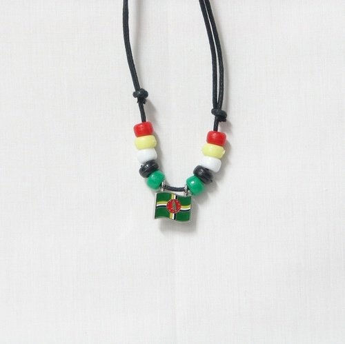DOMINICA  COUNTRY FLAG SMALL METAL NECKLACE CHOKER .. NEW
