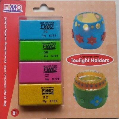 FIMO SOFT CREATE YOUR OWN TEALIGHT HOLDER OVEN BAKE MODELLING CLAY SET 4 X 25G