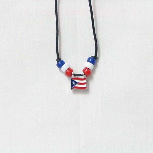 PUERTO RICO  COUNTRY FLAG SMALL METAL NECKLACE CHOKER .. NEW