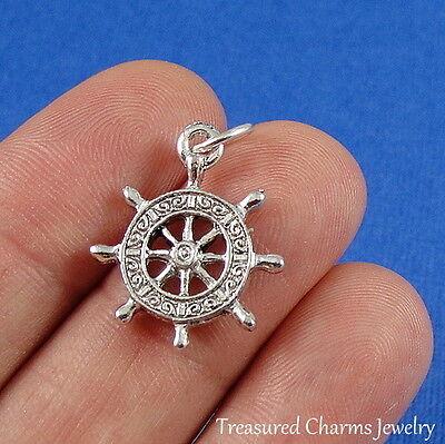 Silver CAPTAIN'S SHIP WHEEL Nautical Boat CHARM PENDANT Captains Wheel Charm