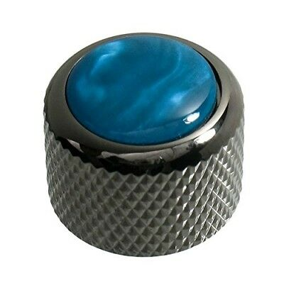 NEW - Q-Parts Dome Knob - AQUA PEARL ON BLACK CHROME, KBD-0070
