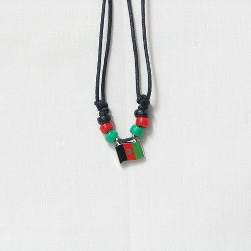 AFGHANISTAN COUNTRY FLAG SMALL METAL NECKLACE CHOKER .. NEW