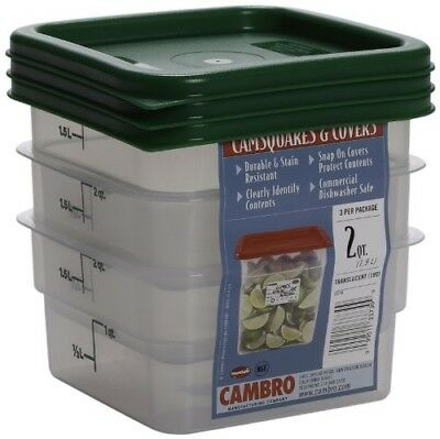 Cambro Set of 3 Square Food Storage Containers with Lids, 2 Quart Cambro Storage Container Lid