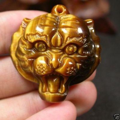 (CHINESE Tiger Eye JADE PENDANT Tiger Head Amulet)