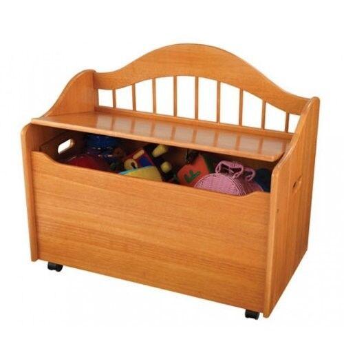 Toy Box, Kids Storage Chest Bench w/Safety Hinge Lid, Honey