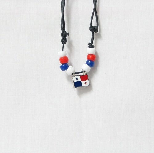 PANAMA  COUNTRY FLAG SMALL METAL NECKLACE CHOKER .. NEW