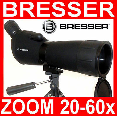 BRESSER ZOOM 20-60x 60mm SPOTTING SCOPE MONOCOLO CANNOCCHIALE TERRESTRE  NUOVO