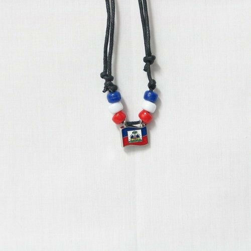 HAITI  COUNTRY FLAG SMALL METAL NECKLACE CHOKER .. NEW