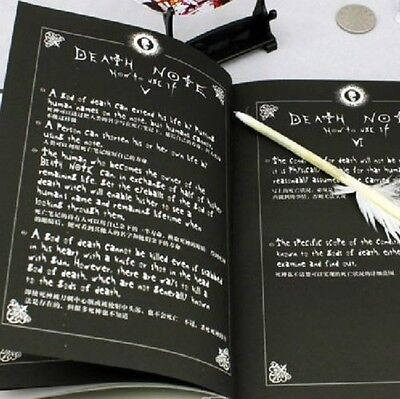 2Pcs Notebook   Feather Pen Writing Journal Anime Theme Cosplay Book Death Note