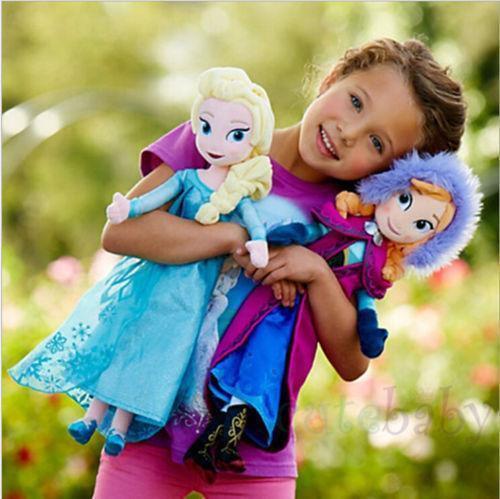 2pcs 40cm Disney Frozen Elsa&Anna princess stuffed Soft plush toy doll for/girls