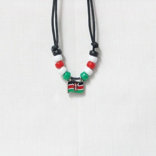 KENYA COUNTRY FLAG SMALL METAL NECKLACE CHOKER .. NEW
