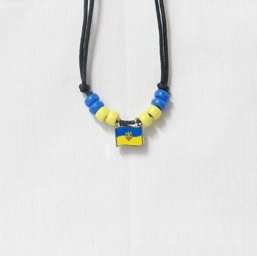 UKRAINE WITH TRIDENT  COUNTRY FLAG SMALL METAL NECKLACE CHOKER .. NEW