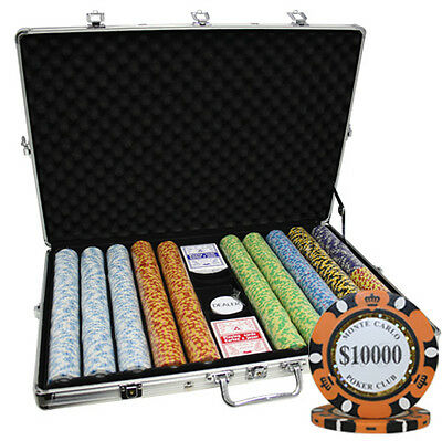 1000 14G MONTE CARLO  POKER CLUB CASINO CLAY POKER CHIPS SET 3-TONE NEW