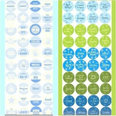 - 2 SETS REAL BOY & BABY BOY SAYINGS BOTTLE CAP IMAGE STICKERS Design Originals