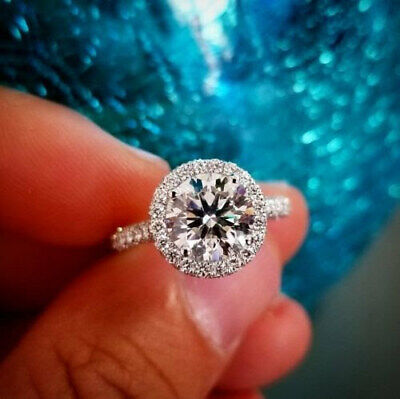 2.40 Ct Halo Round Cut Diamond 3-Row Pave Engagement Ring F,VS1 GIA 14K WG/RG