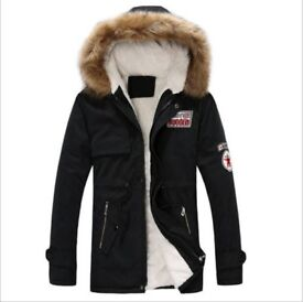 Brand New Mens Black Quality Fur Hood Parka Size Chest Approx Medium 40 inch