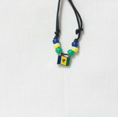 ST. VINCENT & GRENADINES  COUNTRY FLAG SMALL METAL NECKLACE CHOKER .. NEW