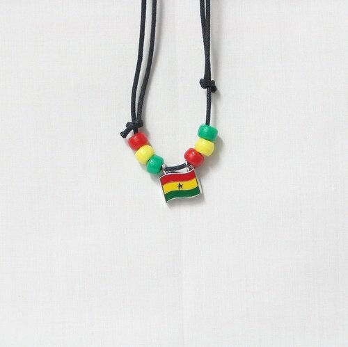 GHANA COUNTRY FLAG SMALL METAL NECKLACE CHOKER .. NEW