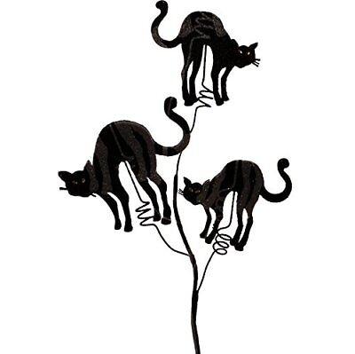 Raz Imports Halloween Decor - Elegant Black Cat Floral Pick 24inch 8pc Set